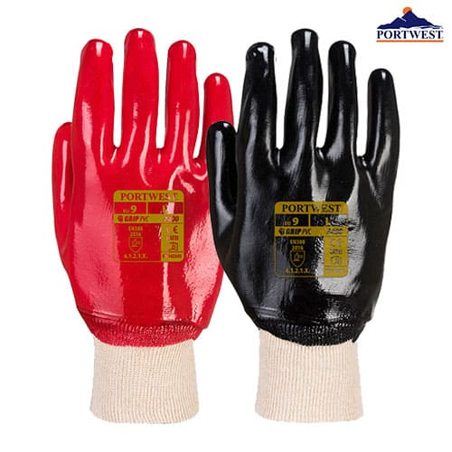 pvc knit glove