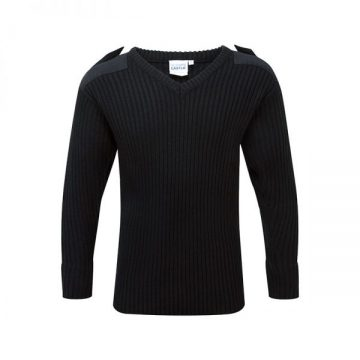Castle V Neck Jumper Black